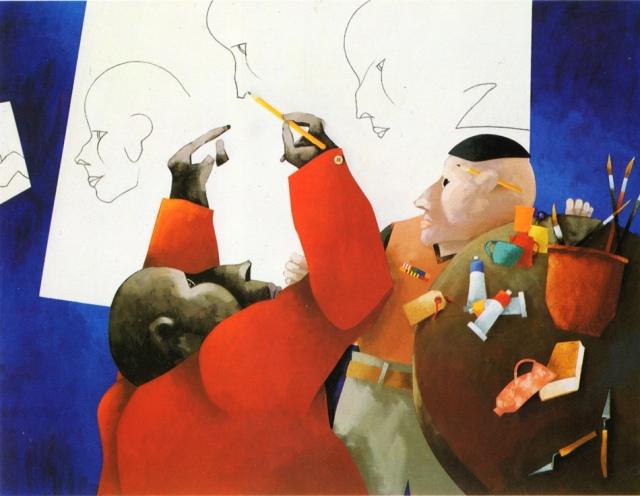 Francesco Tadini archivio, opera di Emilio Tadini, L'Atelier, 1993, acrilici su tela, 114x146