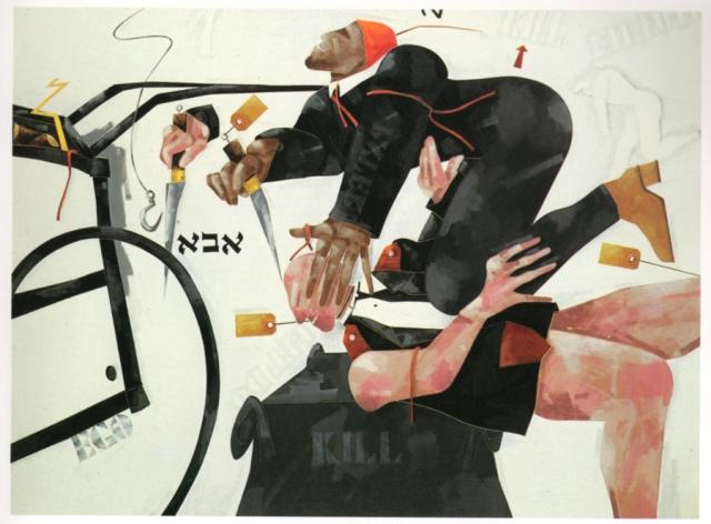 Francesco Tadini, archivio Tadini, opera di Emilio Tadini, Il sacrificio di Isacco, 1977, acrilici su tela, 150x200