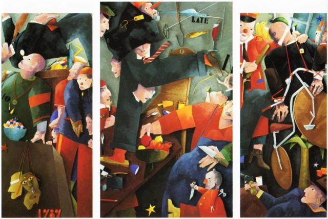Francesco Tadini, trittico di Emilio Tadini, No particular place, 1989, acrilici su tela, 190x84,200x120, 190x84