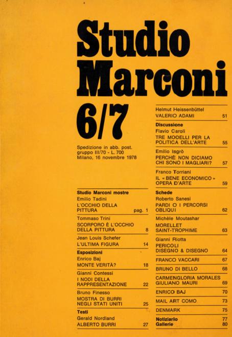 Tadini, Studio Marconi, Fondazione Marconi 1978 novembre
