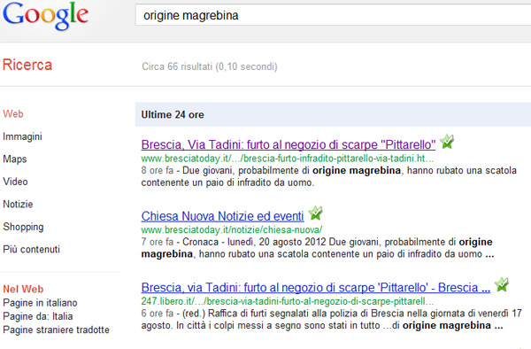 Francesco Tadini, news e motori di ricerca