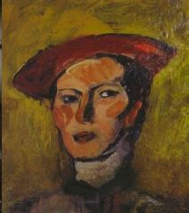 Francesco Tadini segnala, Lalla Romano, Autoritratto con cappello rosso (1940 circa)